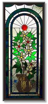 Custom Stained Glass Right In Your Home, Business or Church! Unlike paintings or sculpture, stained glass art may need repair at times due to weather, breakage, or excessive moving. Also unlike other art, stained glass panels may be completely rebuilt using new lead came and solder but preserving the original design and glass.